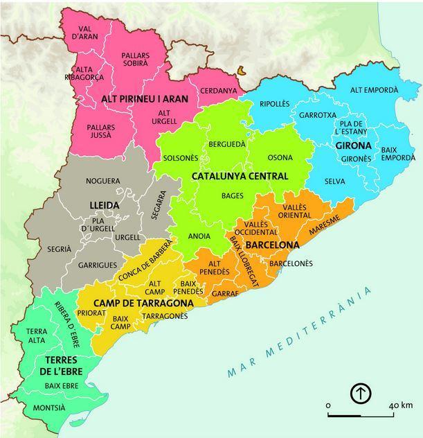 Barcelona Region Karta Karta Over Barcelona Regionen Katalonien