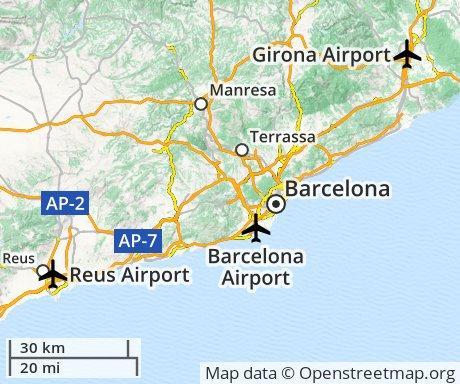 Flygplatsen I Barcelona Spanien Karta Barcelona Flygplats Karta