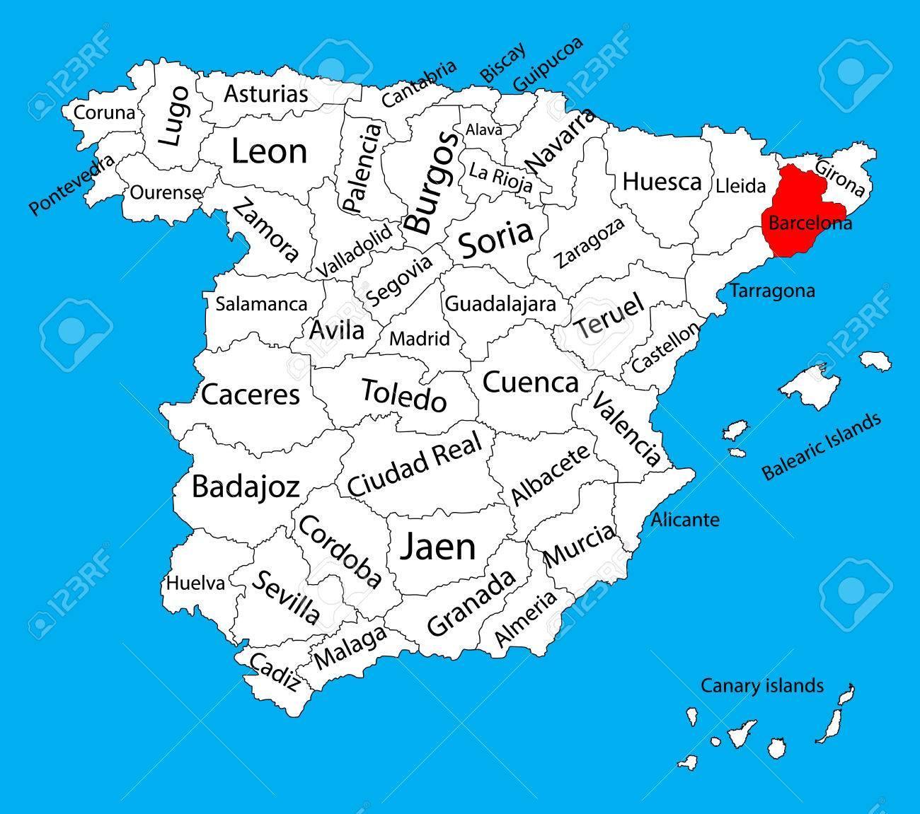 Karta Over Spanien Barcelona Omradet Karta Spanien Barcelona